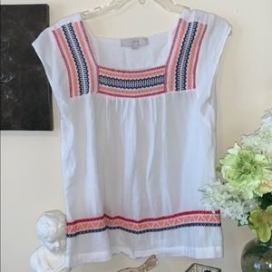 💖Loft Embroidered peasant top Size SX 💖